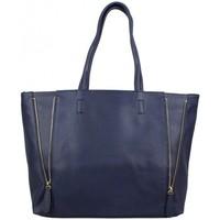 Sacs Femme Cabas / Sacs shopping Fuchsia Grand sac cabas zip trapèze  F1598-1 bleu