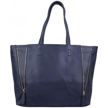 Sacs Femme Cabas / Sacs shopping Fuchsia Grand sac à main cabas zip trapèze  F1598-1 Bleu foncé