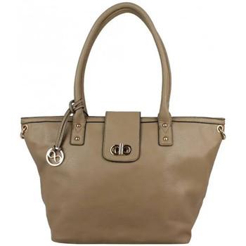 Sacs Femme Cabas / Sacs shopping Nouvelty Grand sac cabas trapèze bandoulière demi chaîne Andie Blue A8095 Taupe