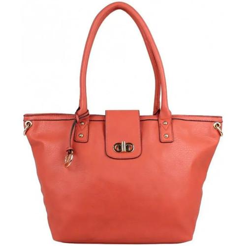 Sacs Femme Cabas / Sacs shopping A Découvrir ! Grand sac cabas trapèze bandoulière demi chaîne Andie Blue A8095 Orange