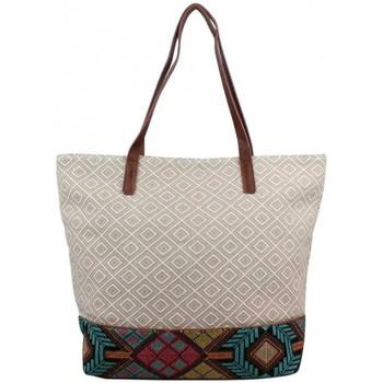 Sacs Femme Cabas / Sacs shopping Fuchsia Sac à main shopping toile  F9627-1 Beige