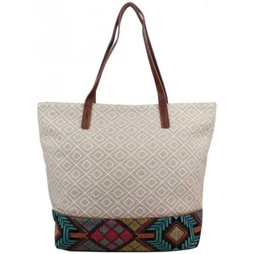 Sacs Femme Cabas / Sacs shopping Fuchsia Sac shopping toile  F9627-1 Beige