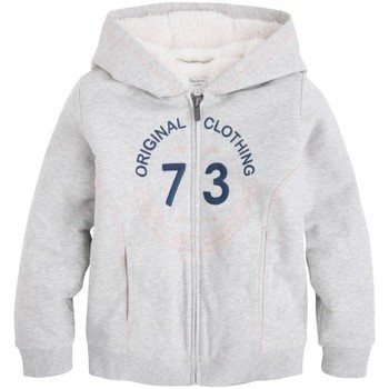 Vêtements Fille Sweats Pepe jeans - Sweat à capuche en molleton gris doublé fourrure polaire ado Gris