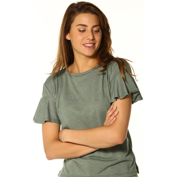 Vêtements Femme T-shirts manches courtes Only T-shirt FEMME - MICHELLE S/S FRILL SLEEVE TOP _AGAVE GREEN/MELA Vert