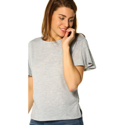 Vêtements Femme T-shirts manches courtes Only T-shirt FEMME - MICHELLE S/S FRILL SLEEVE TOP _LIGHT GREY/MELAN Gris