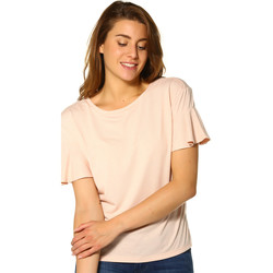 Vêtements Femme T-shirts manches courtes Only T-shirt FEMME - MICHELLE S/S FRILL SLEEVE TOP _CAMEO ROSE/MELAN Rose