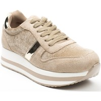 Pomme Passion Baskets style running bi-matière Cornelia Beige - Chaussures Baskets basses Femme