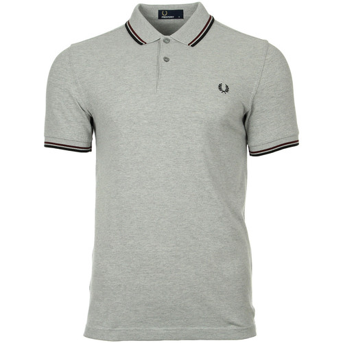 Vêtements Homme Polos manches courtes Fred Perry Twin Tipped  Steel Oxford Port Black gris