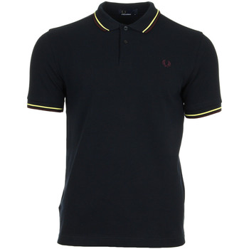 Vêtements Homme Polos manches courtes Fred Perry Twin Tipped Shirt Navy Soft Yellow bleu