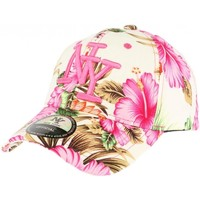 Accessoires textile Casquettes Hip Hop Honour Casquette baseball beige et rose à fleurs Rose