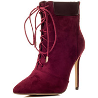 Chaussures Femme Bottines Spylovebuy RIPLEY Femmes Lacet à Talon Aiguille Bottines Chaussures - Cann Rouge
