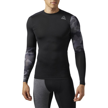 Vêtements Homme T-shirts manches longues Reebok Sport ActiveChill Graphic Long Sleeve Compression Shirt Black / Black