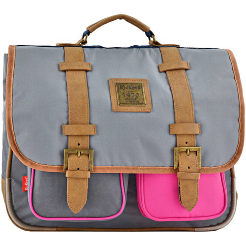 Sacs Enfant Cartables Kickers Cartable 2 compartiments PRESENCE 44A-701130PS GRIS ROSE