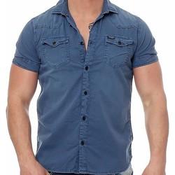 Vêtements Homme Chemises manches courtes Petrol Industries CHEMISE MSS16SIS410 Col 582 Bleu