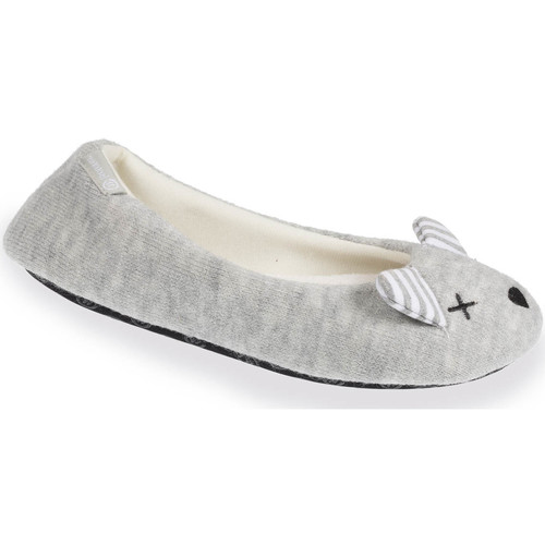 Isotoner Chaussons ballerines souris femme Gris Cp8sy