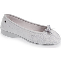 Chaussures Femme Chaussons Isotoner Chaussons ballerines talon femme broderies gris
