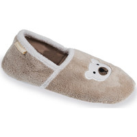 Chaussures Femme Chaussons Isotoner Chaussons slippers ourson femme beige