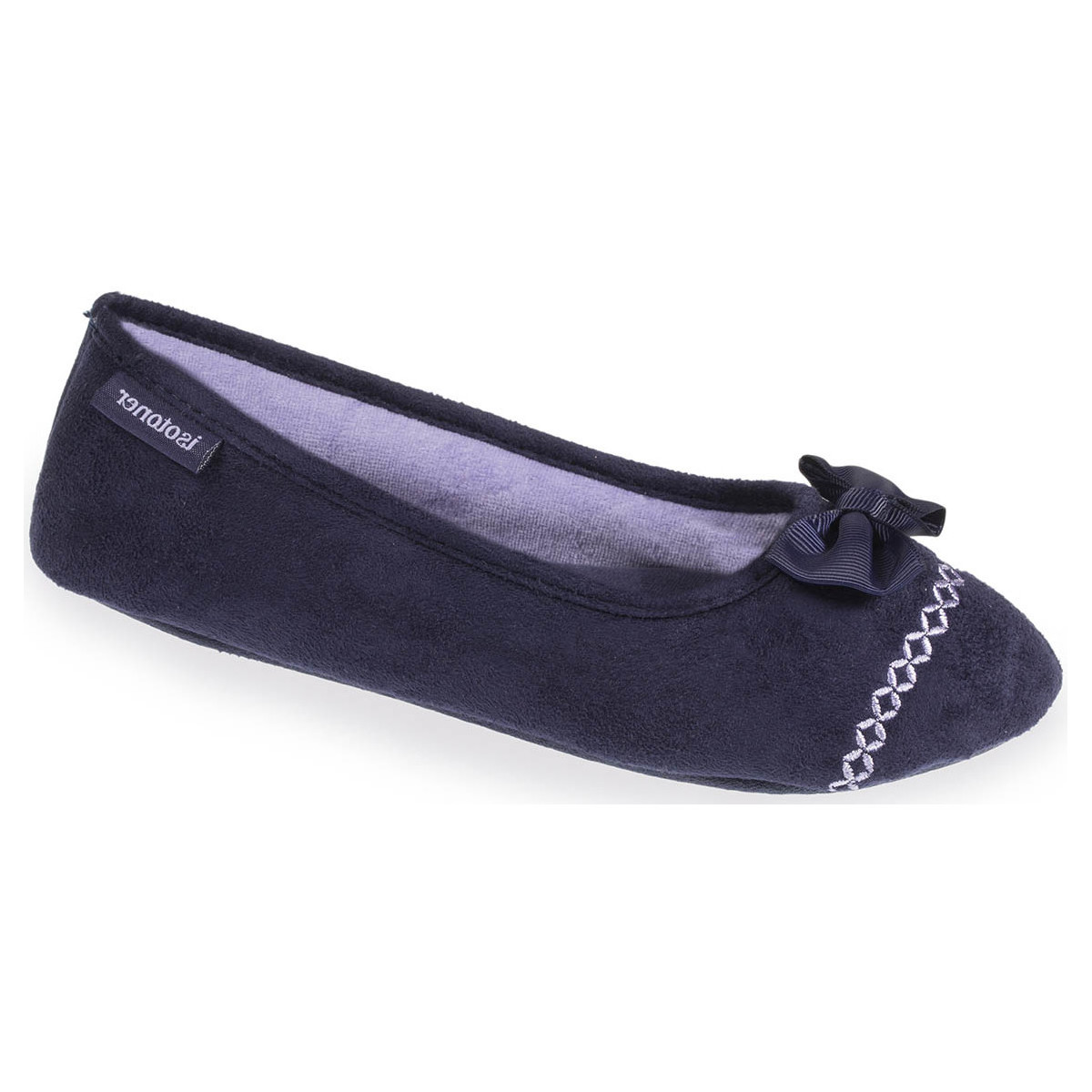 Isotoner Chaussons ballerines femme broderies marine - Chaussures Chaussons Femme