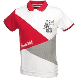 Vêtements Homme Polos manches courtes Simon And Son Dorite red polo mc Blanc