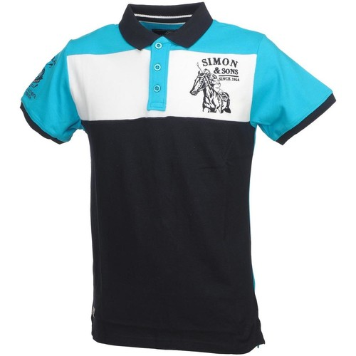 Vêtements Homme Polos manches courtes Simon And Son David turquoise polo mc Turquoise