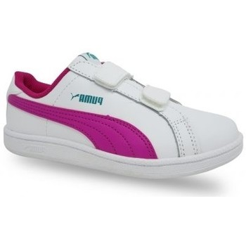 Chaussures Fille Baskets basses Puma - CHAUSSURE CADETTE PS SMASH FUN BLANCHE ROSE blanc