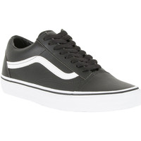Chaussures Homme Baskets basses Vans Homme Old Skool Classic Leather Trainers, Noir noir