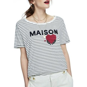 Vêtements Femme T-shirts manches courtes Maison Scotch SHORT SLEEVE RELAXED LOGO TEE Blanc