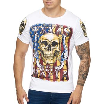 Vêtements Homme T-shirts manches courtes Cabin T-shirt USA tete de mort T-shirt 3257 blanc Blanc