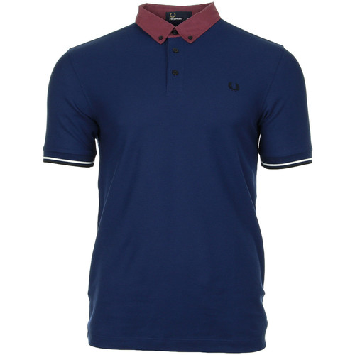 Vêtements Homme Polos manches courtes Fred Perry Woven Collar Pique Shirt French Navy bleu