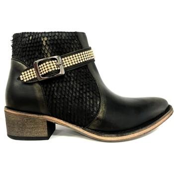 Chaussures Femme Boots Ilario Ferucci Bottines Flower Cuir Noir Noir