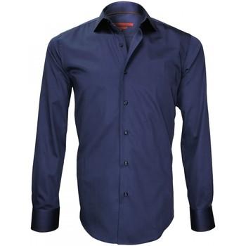 Vêtements Homme Chemises manches longues Andrew Mc Allister chemise brodee tower bridge bleu Bleu