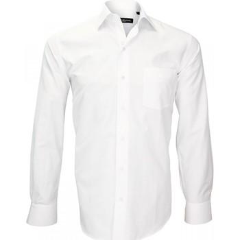 Vêtements Homme Chemises manches longues Emporio Balzani chemise fil a fil tradizzione blanc Blanc