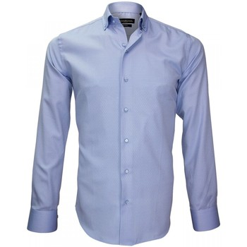 Vêtements Homme Chemises manches longues Emporio Balzani chemise popeline armuree zino bleu Bleu