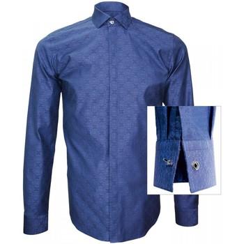 Vêtements Homme Chemises manches longues Andrew Mc Allister chemise tissu jacquard wembley bleu Bleu