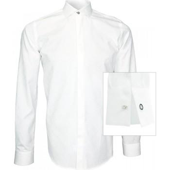 Vêtements Homme Chemises manches longues Andrew Mc Allister chemise blanche jacquard wembley blanc Blanc