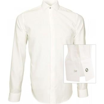 Vêtements Homme Chemises manches longues Andrew Mc Allister chemise tissu armure wembley blanc Blanc