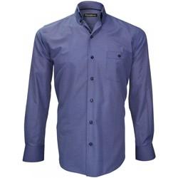 Vêtements Homme Chemises manches longues Emporio Balzani chemise fil a fil ottaviano bleu Bleu