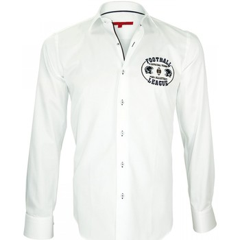 Vêtements Homme Chemises manches longues Andrew Mc Allister chemise brodee superball blanc Blanc