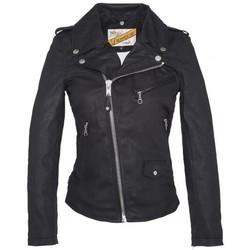 Vêtements Femme Vestes en cuir / synthétiques Schott BLOUSON PERFECTO DENIM FEMME  Black Noir