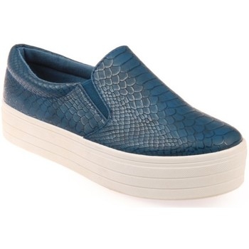 <strong>Chaussures</strong> la modeuse <strong>baskets</strong> slip on croco bleu