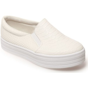 Chaussures Fille Baskets mode La Modeuse Slip-on enfant blanches effet croco Blanc