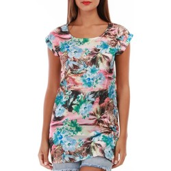 Vêtements Femme Tops / Blouses La Modeuse Tunique fluide imprimé tropical multicolore Multicolore