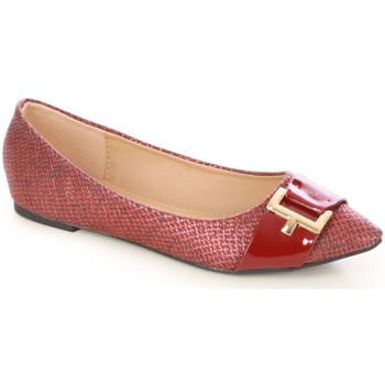 Chaussures Femme Ballerines / babies La Modeuse Ballerines pointues rouges python Rouge