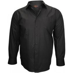 Vêtements Homme Chemises manches longues Doublissimo chemise popeline armuree prestige noir Noir