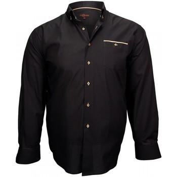 Vêtements Homme Chemises manches longues Doublissimo chemise tissu oxford london noir Noir