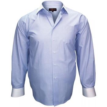 Vêtements Homme Chemises manches longues Doublissimo chemise a col blanc business bleu Bleu