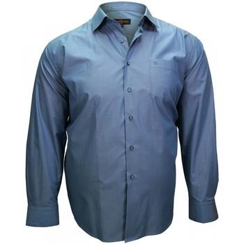 Vêtements Homme Chemises manches longues Doublissimo chemise fil a fil dandy bleu Bleu
