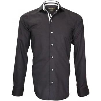 Vêtements Homme Chemises manches longues Emporio Balzani chemise popeline armuree cinecitta noir Noir