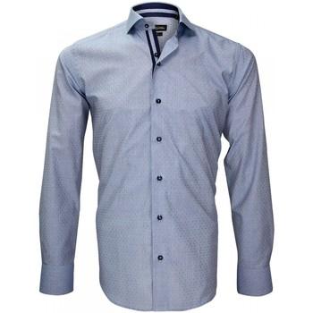 Vêtements Homme Chemises manches longues Emporio Balzani chemise fil a fil cinecitta bleu Bleu