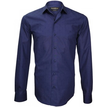 Vêtements Homme Chemises manches longues Emporio Balzani chemise popeline armuree tiberio bleu Bleu